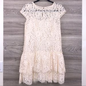 Ann Taylor Loft ivory lace tiered mini dress 6P